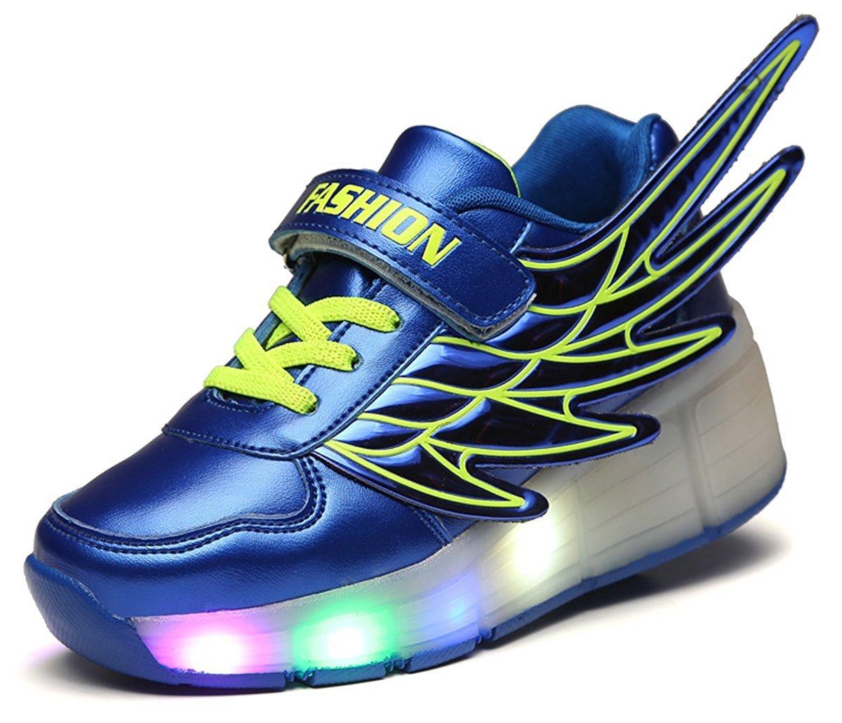 pit4tk LED Light Up Roller Wheel Shoes Athletic Sneaker Sport Shoe Dance Boot Kid Wing Christmas Blue