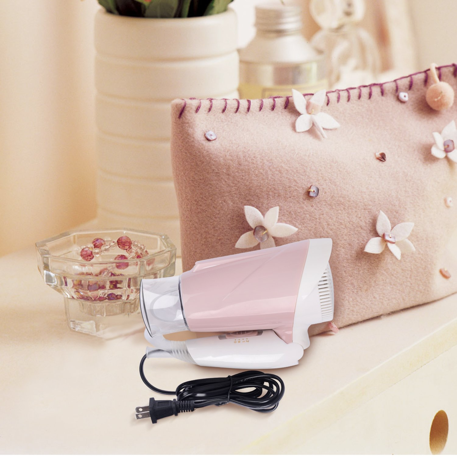 1600W Mini Travel Hair Dryer with Folding Handle for Faster Drying BESTBOMG Lightweight Salon Small Hair Blow Dryer with Detachable Styling Concentrator 2 Heat Setting Cool Shot Button Hot Air Brushes