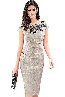 a05f2b9efc8101 Babyonline® Damen Elegant Etuikleid Spitzenkleid Midi Kurzarm  Bleistiftkleid Business Party L6341