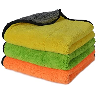 AUTOYOUTH Microfiber Car Cleaning Towels Multi-Use Buffing Dusting and Cleaning Cloths Ultra Thick Terry Rags for Auto Detailing and Household - 3 Pack 15''x18'' Size: Automotive