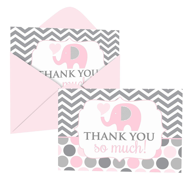 핑크 코끼리 감사 카드와 봉투 (20 팩) - 여자 베이비 샤워에 대한 감사 - 성별 공개 - 생일 - 매일 - 정글 동물 파티 용품 - 접힌 세트