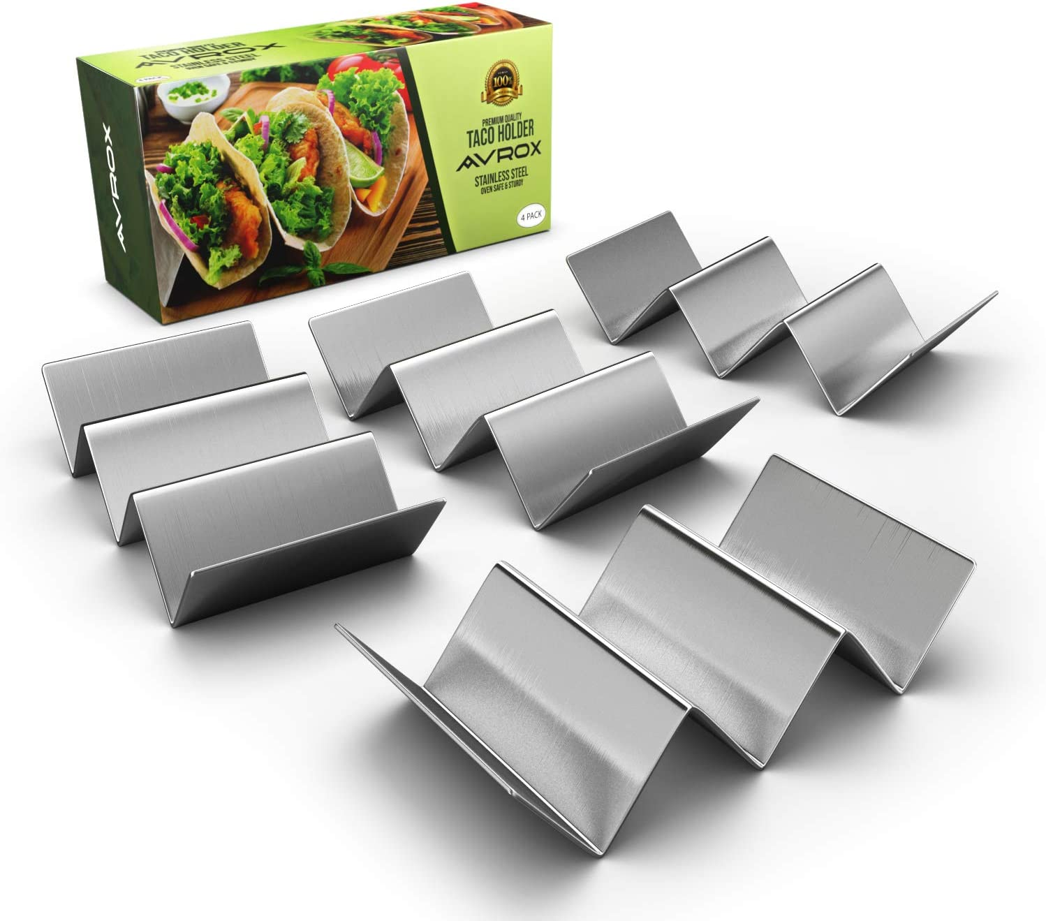 "2 Pack Taco Holder Stands,Stainless Steel Taco Truck Tray Style Holds Up To 3 Tacos Each as Plates,Oven Safe for Baking,Dishwasher and Grill Safe,Easy To Fill Taco Rack,Holders Size 8/"" x 4/"" x 2/"""
