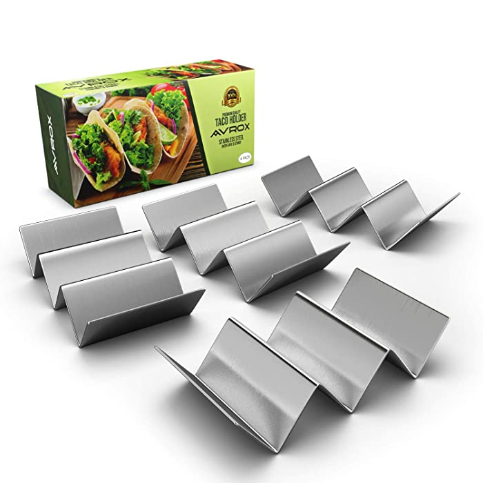 "Pack of 4 – Stainless Steel Taco Holder Stand – Truck Tray Style – Each Rack Holds Up to 3 Tacos – Oven, Grill & Dishwasher Safe – Size 8"" x 4"" x 2"""