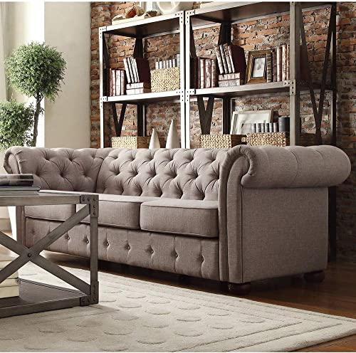 Inspire Q Knightsbridge Tufted Scroll Arm Csterfield Sofa