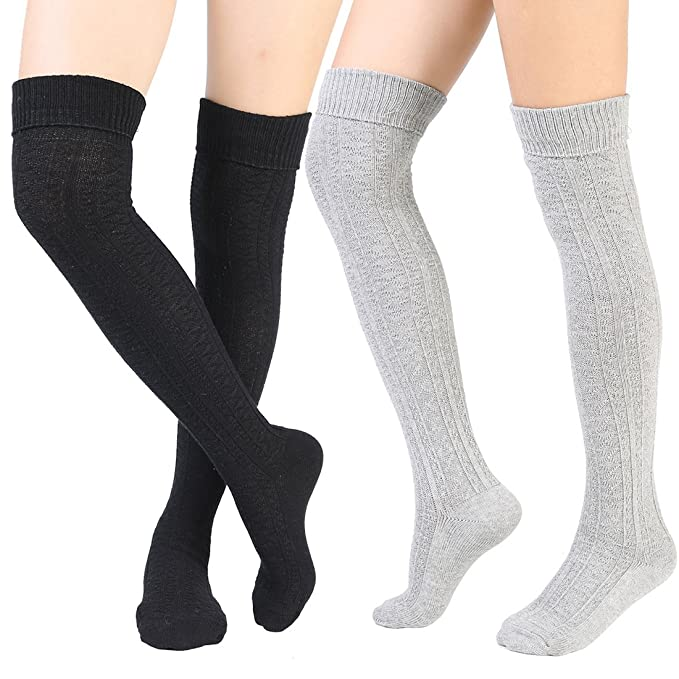 0613f122c24 Women s Over Knee High Socks Knit Boot Stockings Leg Warmer 2 Pairs ...