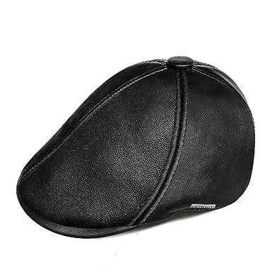 d0b731538395a4 LETHMIK Genuine Lambskin newsboy Cap Cabbie IVY Hat Irish Driving Flat Cap  Black-L