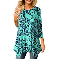 Miskely Women's 3/4 Sleeve Damask Floral Printed Tunic Tops with Pocket Casual Irregular Hem Asymmetrical Blouse T Shirt