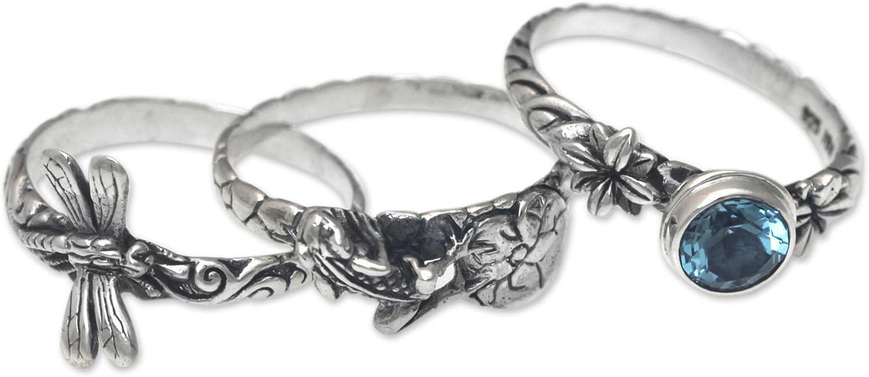 NOVICA Blue Topaz .925 Sterling Silver Dragonfly and Frog Stacking Rings, set of 3, Garden of Eden'