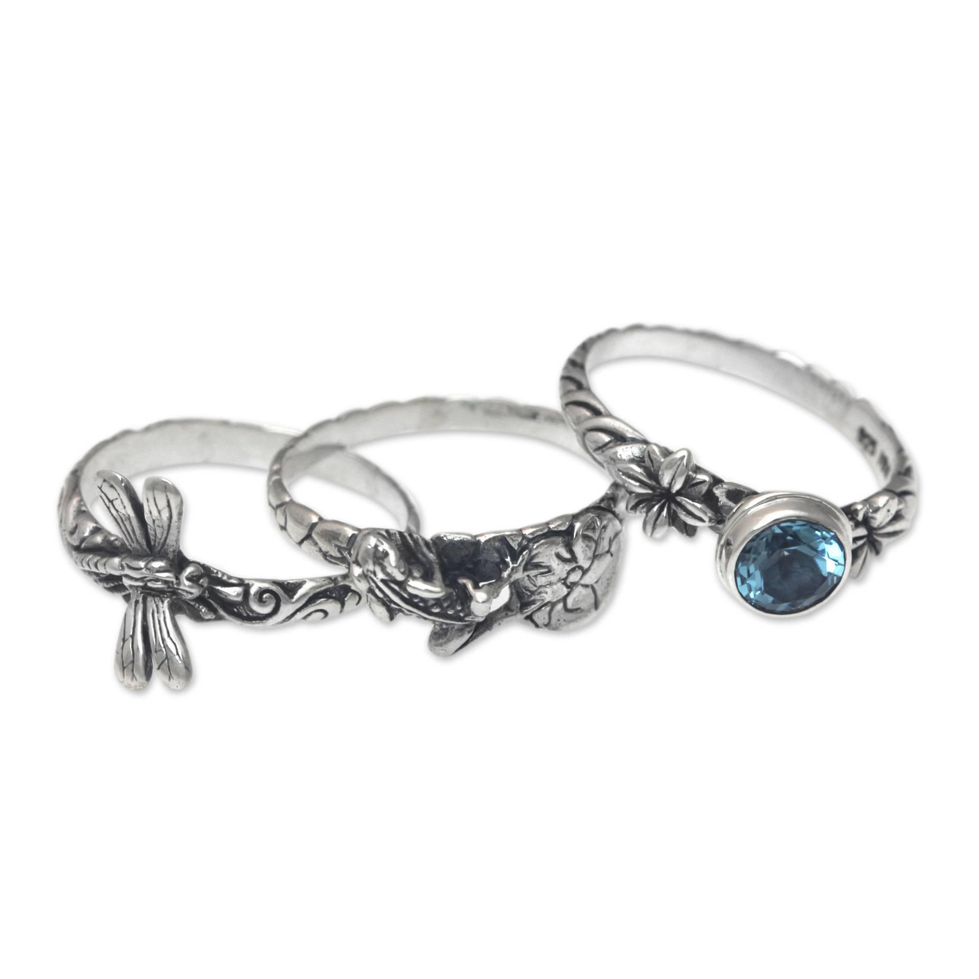 NOVICA Blue Topaz .925 Sterling Silver Dragonfly and Frog Stacking Rings, set of 3, Garden of Eden' by NOVICA