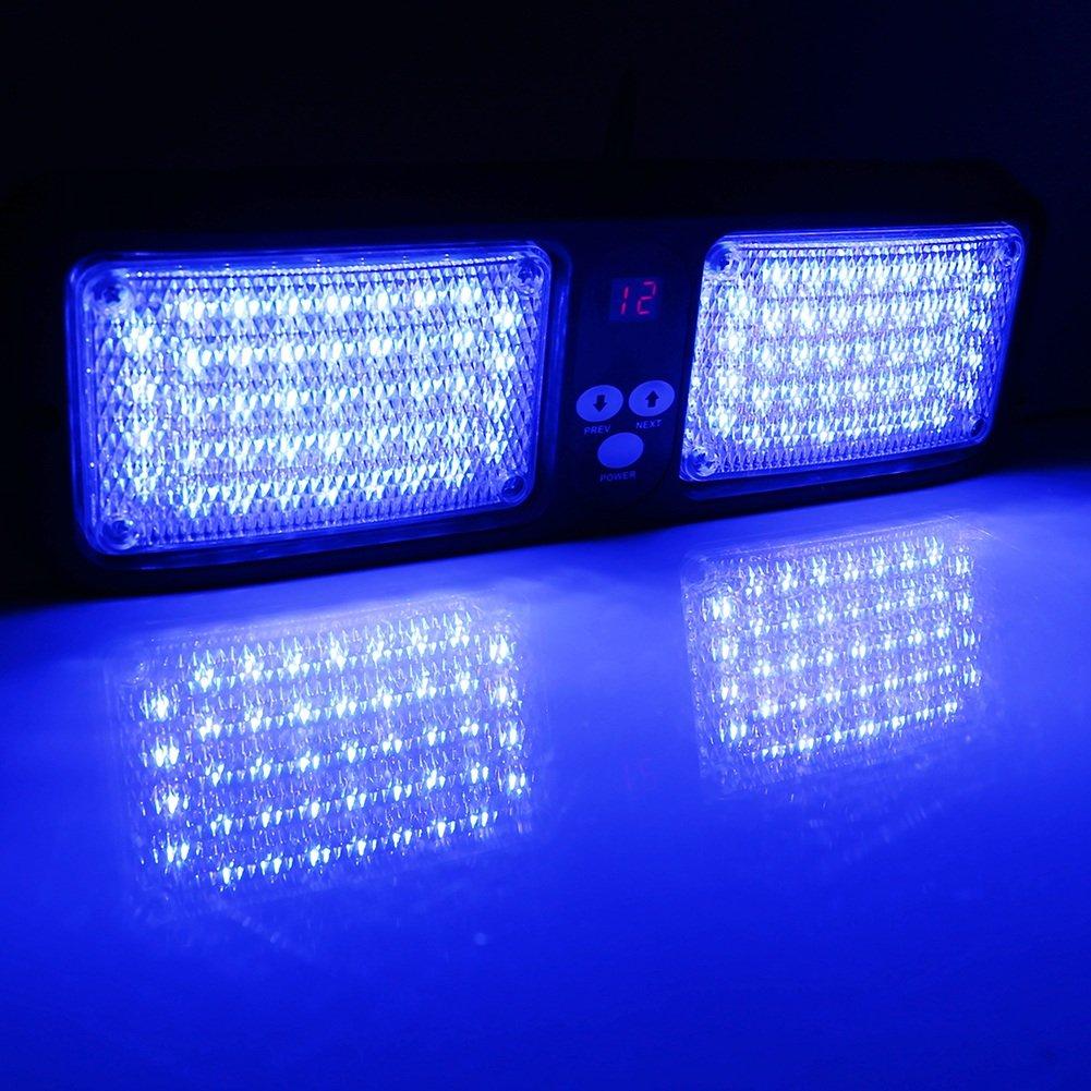 Couleur : Bleu 7 Couleurs VGEBY 12V Feux Stroboscope 86 LED Lumi/ère Strobe Urgence Dalarme sur Brise-soleil Voiture