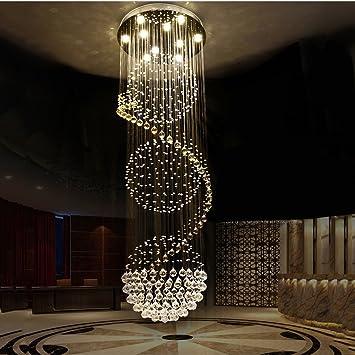 Candelabro Escalera de caracol araña de cristal escalera duplex arañas de la sala de estar arañas Lámparas de cristal (Tamaño : 50 * 150cm): Amazon.es: Hogar