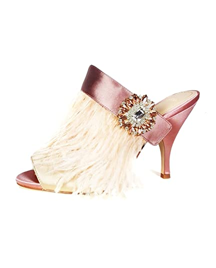fd43ef61c4a Zara Women High heel mules with feather and brooch detail 5460 201 (37 EU
