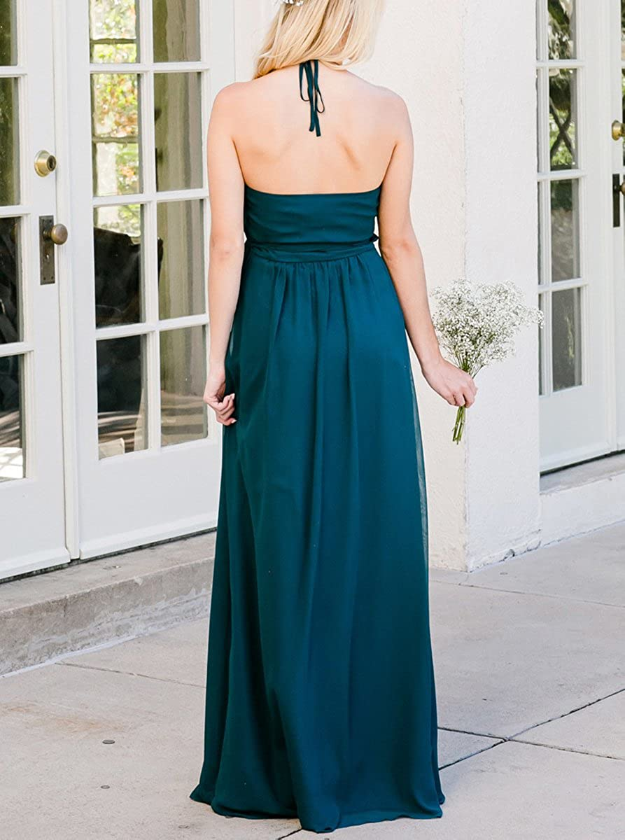 Uther Formal Evening Party Dress Chiffon V-Neck Long Casual Wrap Maxi Dress