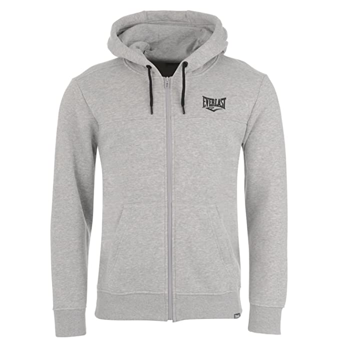 Everlast Mens Zip Hoody Hoodie Hooded Top Full Warm Drawstring Grey Marl Small at Amazon Mens Clothing store: