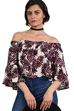 6f92e41ae0949 Pilot Women s Frill Sleeve Floral Print Bardot Crop Top in Black   Red at  Amazon Women s Clothing store