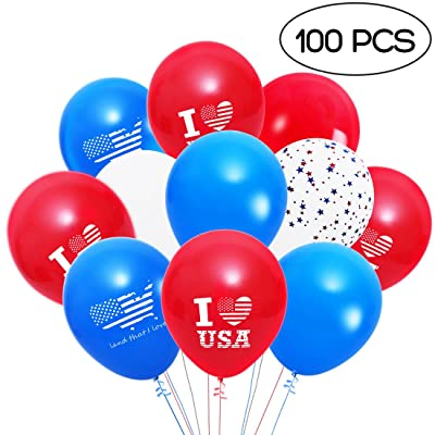 4th of July Balloons Patriotic Decorations Red Blue White Balloons Decorations with I Love USA, Land That I Love, Stars Patterns 100 PCS: Toys & Games