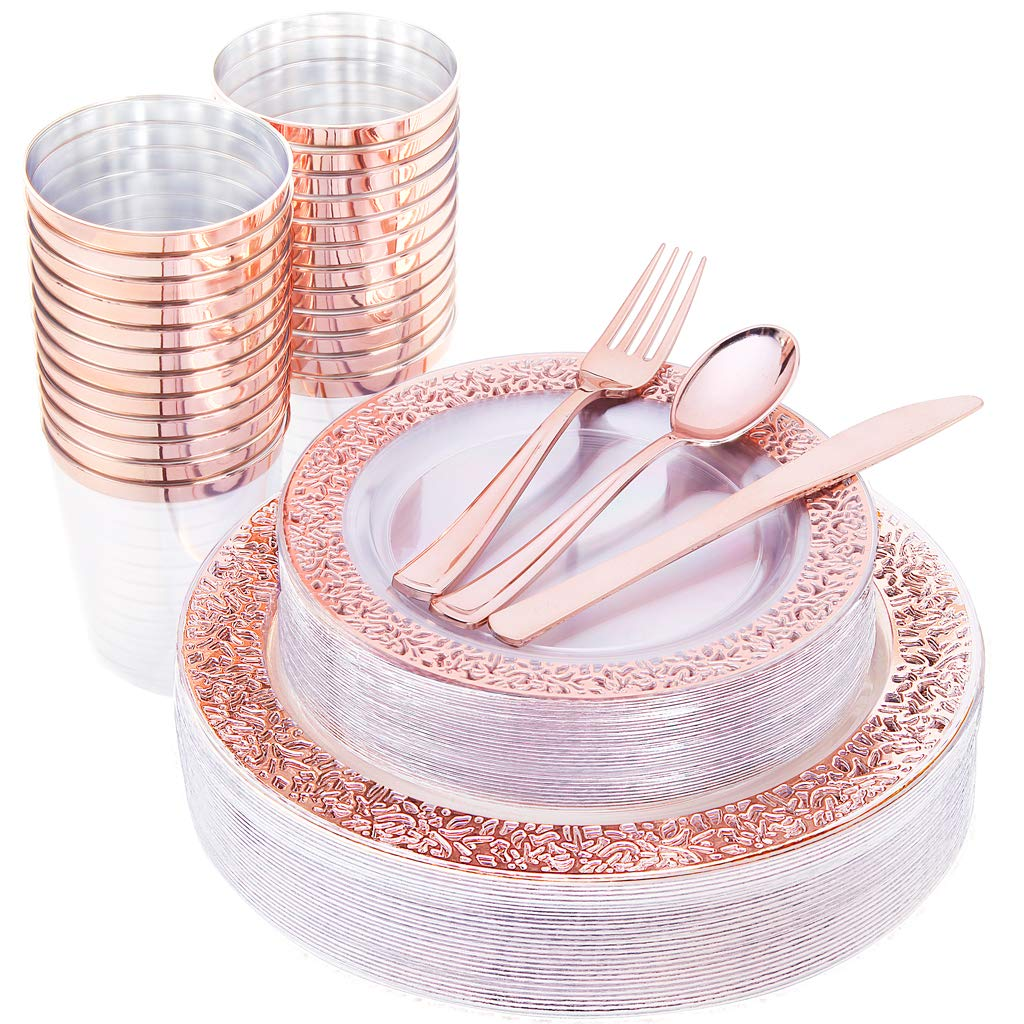 IOOOOO 150 Pcs Rose Gold Plastic Plates & Silverware & Disposable Cups, Laced Design Includes 25 Dinner Plates 10.25'', 25 Dessert Plates 7.5'', 25 Tumblers, 25 Forks, 25 Knives, 25 Spoons by IOOOOO