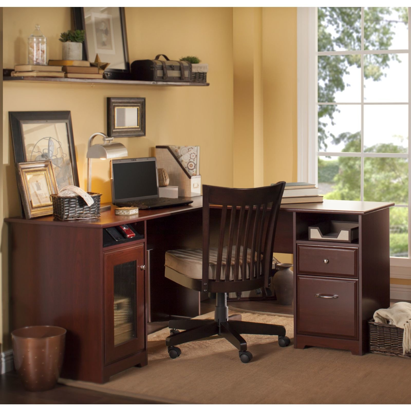 Premium L-Shaped Desk - Modern Stylish Executive Table Storage Organization Home Office Free eBook (Espresso Oak)