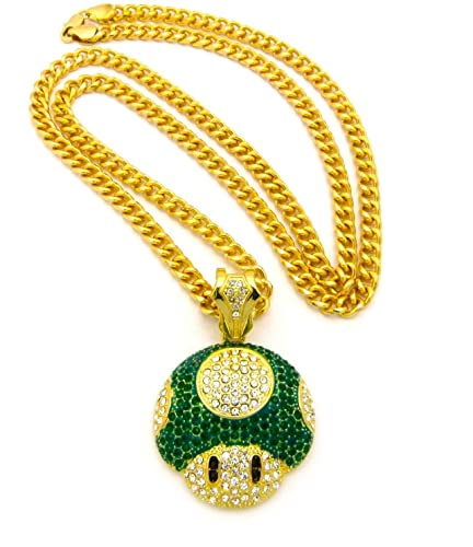 2bf4e9ff8d7 Image Unavailable. Image not available for. Color  Mushroom Face Pendant  Mens Iced Out Hip Hop Cuban Link 30 quot  Chain Necklace Green Gold