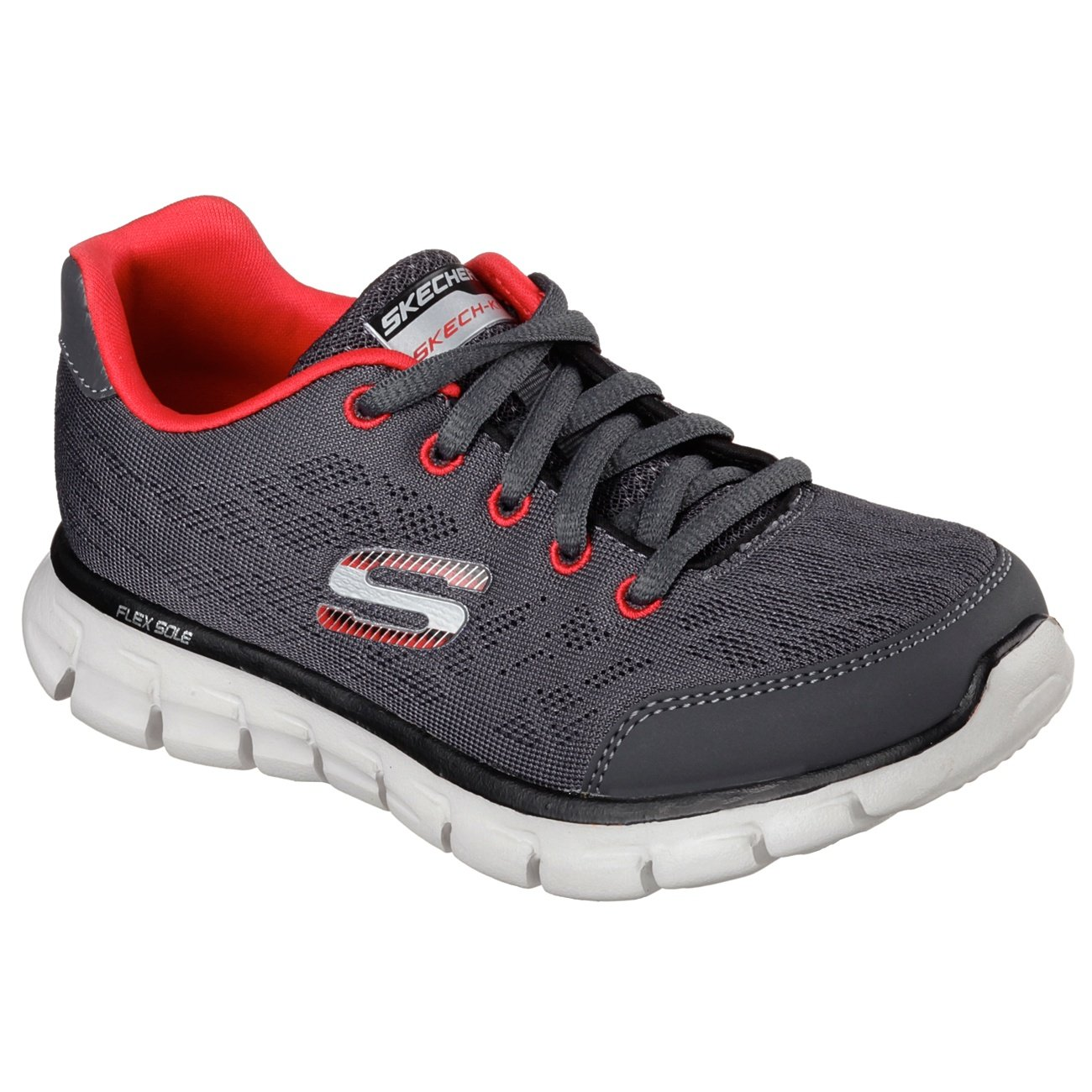 Skechers Childrens/Boys Synergy Fine Tune Lace Up Trainers/Sneakers (12.5 US Junior) (Gray/Red)