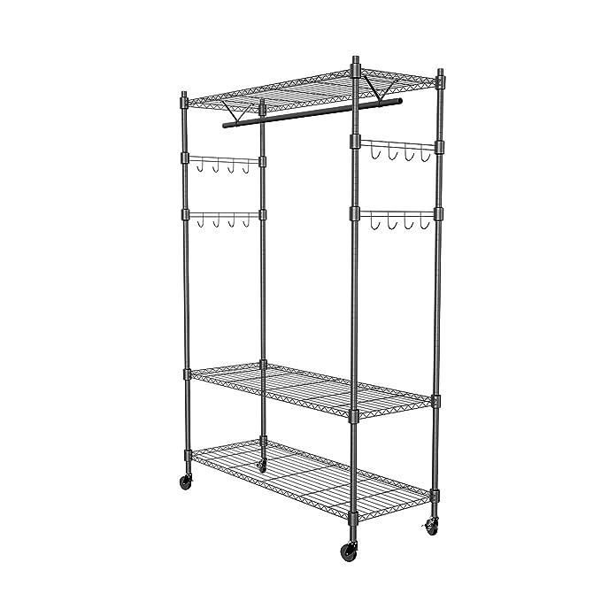 Amazon.com: PaPafix Heavy Duty Wire Shelving Unit Garment Rack,Portable Clothes Closet Wardrobe Storage Organizer, with Hanger Bar Wheels+2 Pair Side Hooks, ...