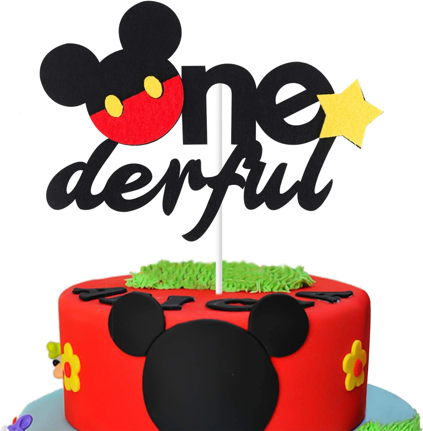 Pleasant Amazon Com Mallmall6 Mickey Inspired One Birthday Cake Topper Birthday Cards Printable Trancafe Filternl