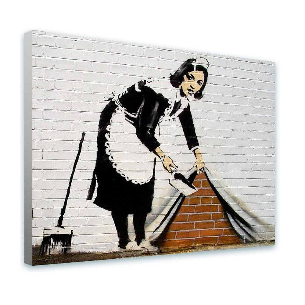 Alonline Art - Cleaning Lady by Banksy | framed stretched canvas on a ready to hang frame - 100% cotton - gallery wrapped | 39''x29'' - 98x74cm | Wall art home decor for living room or for bedroom | by Alonline Art