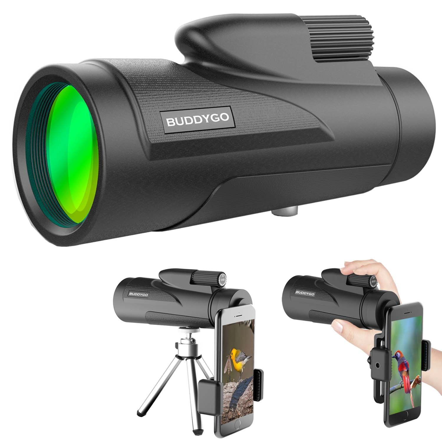 Monocular Telescope, BUDDYGO 12x50 High Power Low Night Vision Waterproof Spotting Scope for Adults with Smartphone Adapter and Tripod Waterproof Fogproof Shockproof for Bird Watching Hunting (12x50) by BUDDYGO