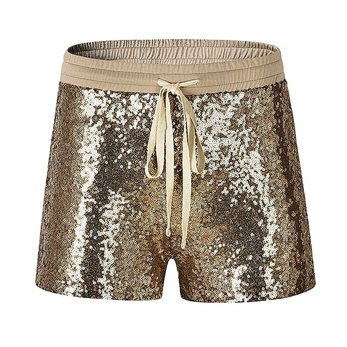 Byqny Damen Sequin Shine Glitter Shorts Paillette Verschönert Party Kurze  Hose 9b1eda1e53