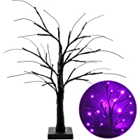 2FT Lighted Black Halloween Tree for Tabletop, Upgraded Spooky Tree with 24 LED Purple Lights, Battery Operated…