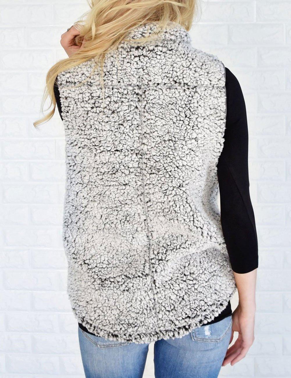 MEROKEETY Women's Casual Sherpa Fleece Lightweight Fall Warm Zipper Vest Pockets by MEROKEETY (Image #6)