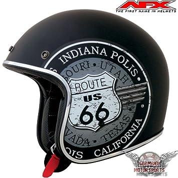 Casco para motocicleta de AFX FX76, modelo negro mate, Bobber Harley, Chopper,