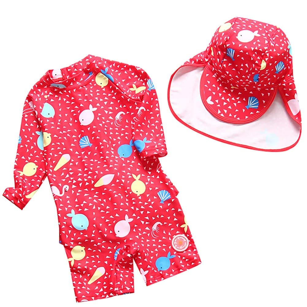 AMIYAN Children Girls UV Protection Adorable Cartoon Sea Print One Pieces Zipper Ruffles Swimsuit with Hat