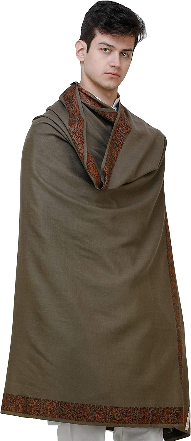 Exotic India Plain Mens Shawl with Brown Woven Border Color Almond Buff