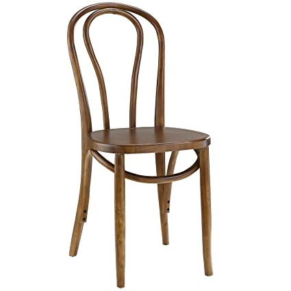 Modway Eon Natural Elm Wood Bistro Dining Side Chair In Walnut