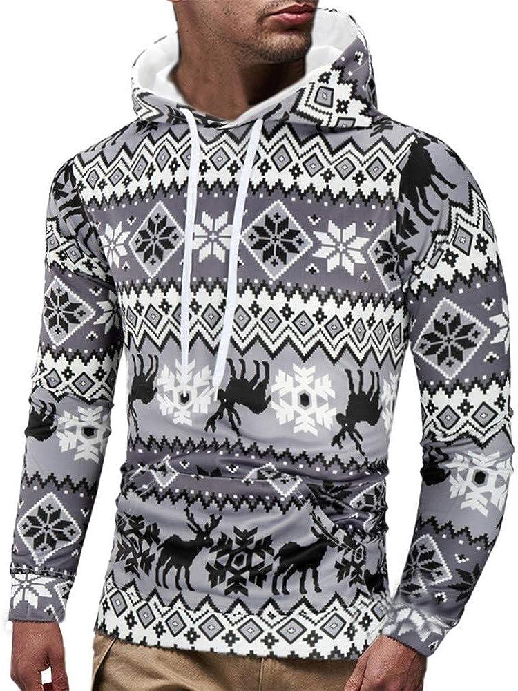 Mens Casual Christmas Printed Long Sleeve Pullover Sweatshirt Hoodie Coat