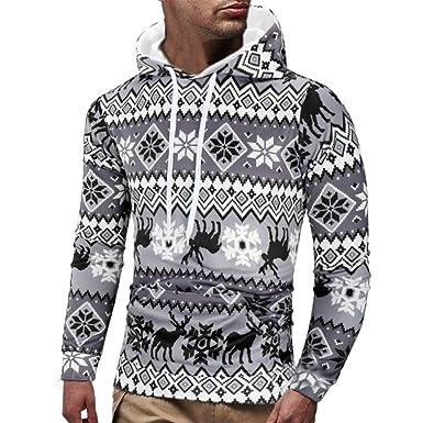 MAYOGO Hoodies Herren Weihnachten Printe Kapuze Pullover