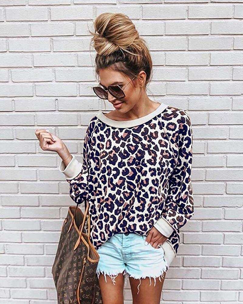 BABSUE Womens Leopard Print Top Camouflage Sweatshirts Pullover Long Sleeve Shirts Casual Blouse