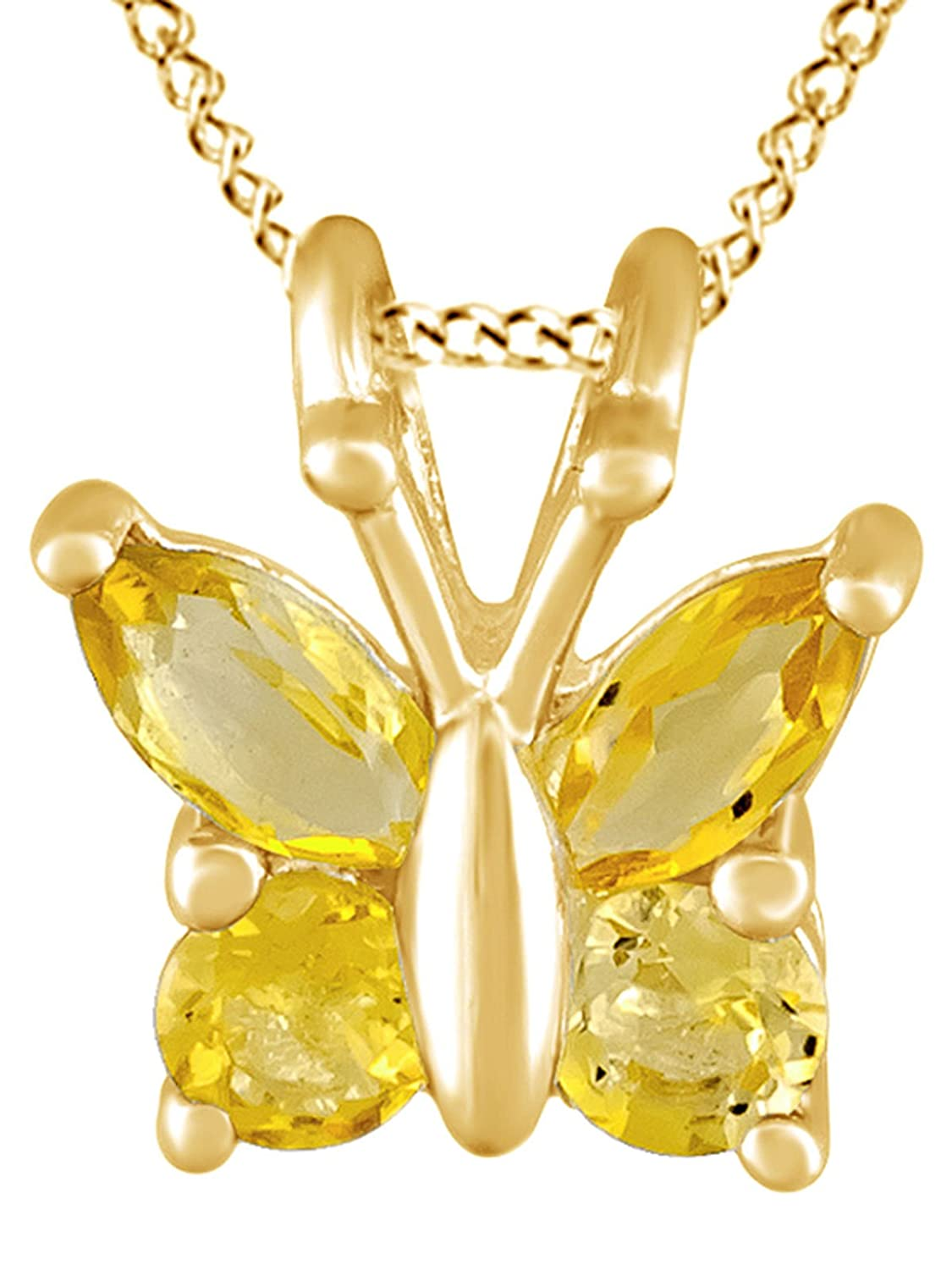 AFFY Simulated Yellow Citrine Butterfly Pendant Necklace in 14k Gold Over Sterling Silver 0.35 Cttw