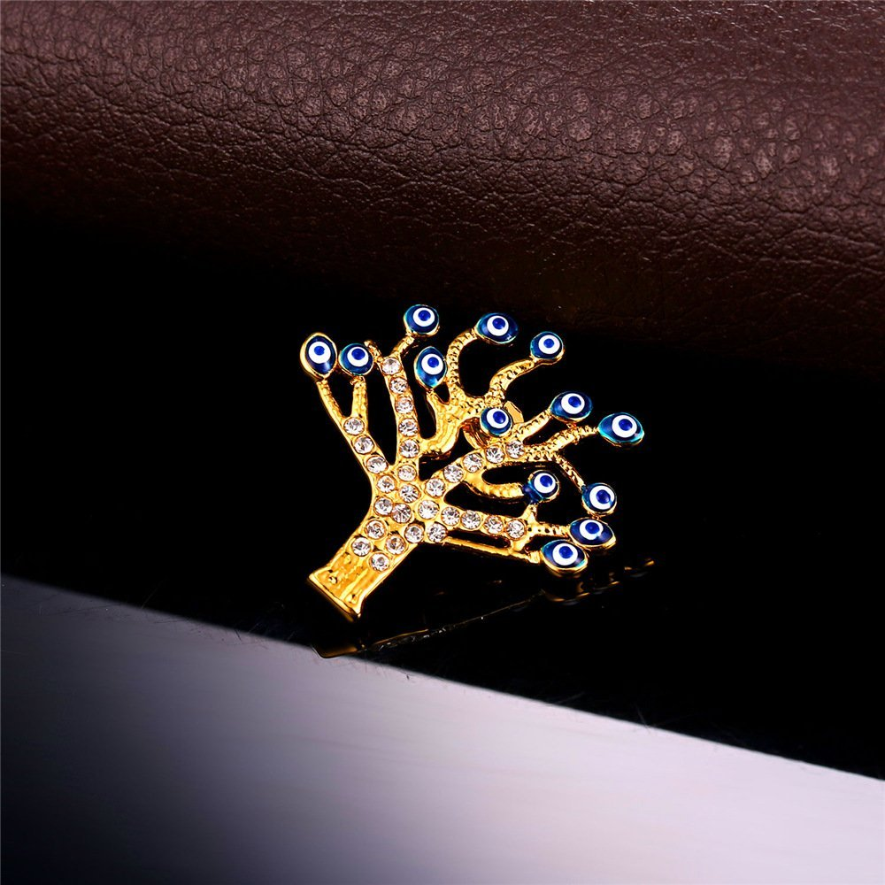 U7 Lucky Evil Eye Tree of Life Brooch 18K Gold Plated Tie Hat Bag Brooches Lapel Pin Women Men by U7 (Image #9)
