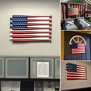 American Flag Wall Decoration, Creative Indoor Wooden Baseball Bat Flag Wall Hanging, Baseball Decoration, Hanging Tool for Office & Bedroom Home Patriotic (Multicolor)