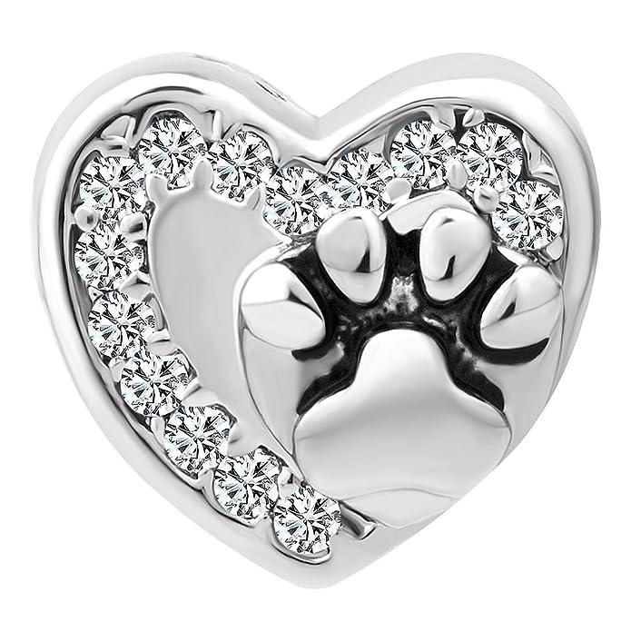 Sug Jasmin Heart Love Pet Dog / Cat Paw Print Charm Beads For Bracelet 12KpNeD1E