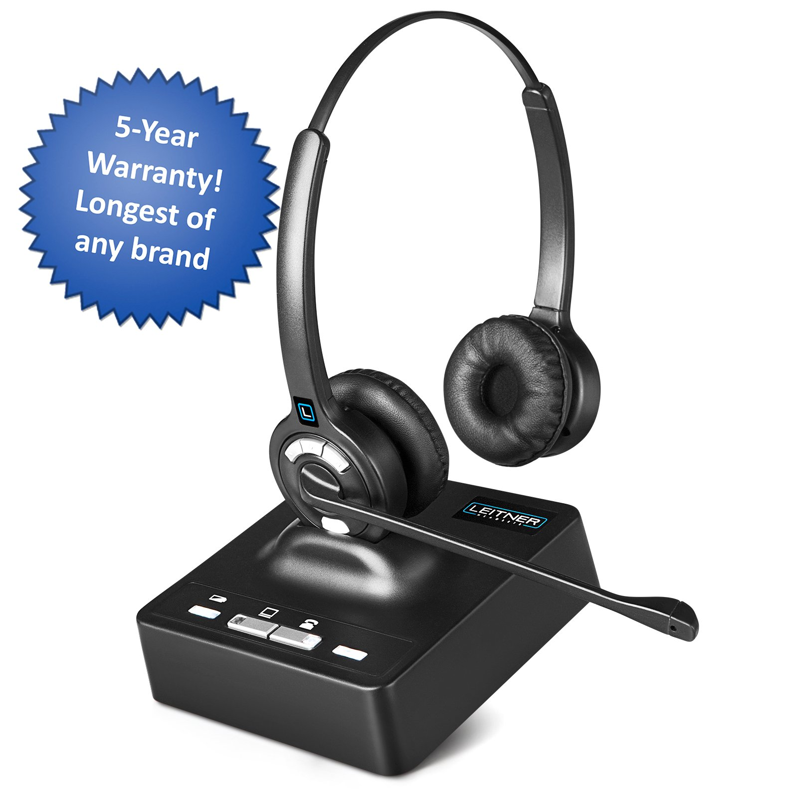 Leitner LH275 Dual-Ear Wireless Office Telephone Headset for Corded Office Phones - 5-Year Full-Replacement Warranty - Noise-Canceling and UniBase Technology - Also Works with PC and Mac
