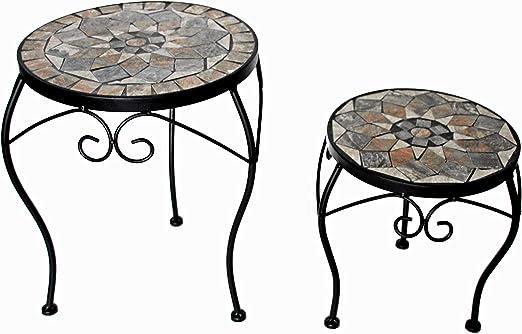 K&L Wall Art Mosaik - Juego de 2 mesas auxiliares para jardín (30 cm y 24 cm de diámetro) Mesa de mosaico de piedra hecha a mano: Amazon.es: Jardín