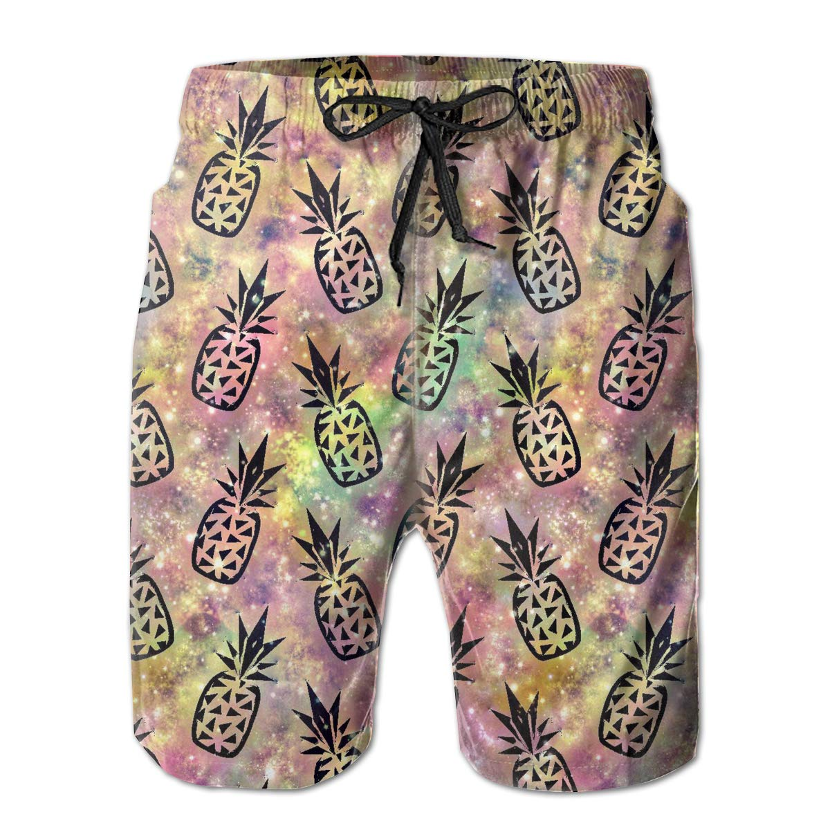 MikonsuGalaxy Pineapples Mens Colorful Swim Trunks Beach Board Shorts with Lining White