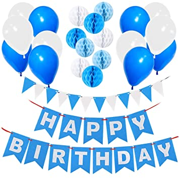 Happy Birthday Decorations Supplies Gyvazla Banner And 9pcs Blue White Paper Honeycomb
