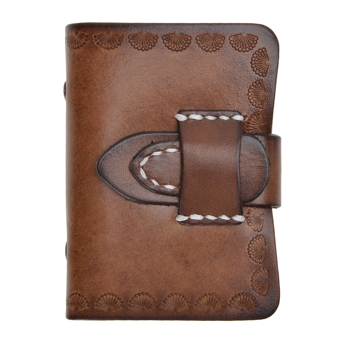 ZLYC Vintage Handmade Leather Belt Closure Card Case Holder, Brown LY-WA-07-BR_CA