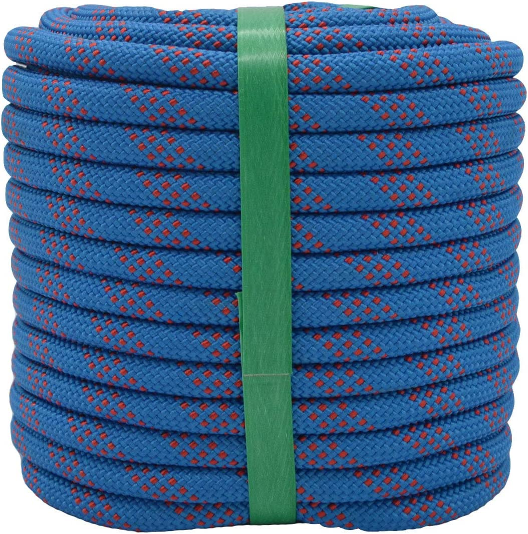 YUZENET Static Climbing Rope 2/5 Inch 100 Feet Outdoor Safety Fire Escape Rope Rappelling Rope,Blue/Red