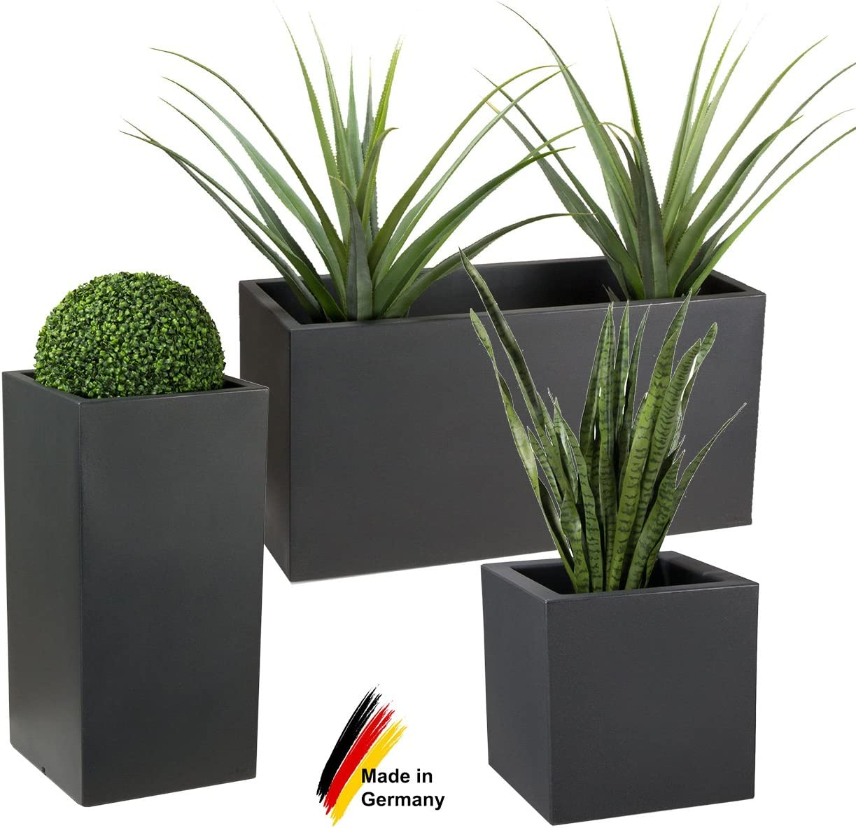 Available in Different Sizes Frost- and Weatherproof Suitable for Indoor /& Outdoor use Planters DECORAS Plastic Plant Troughs Premium Flower Pots Plant Pot Colour: Charcoal-Grey