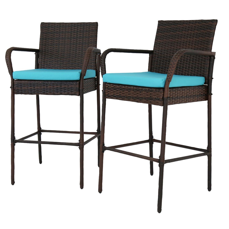 Amazon com peach tree patio outdoor wicker set pool furniture high chair brown w free blue cushions garden outdoor